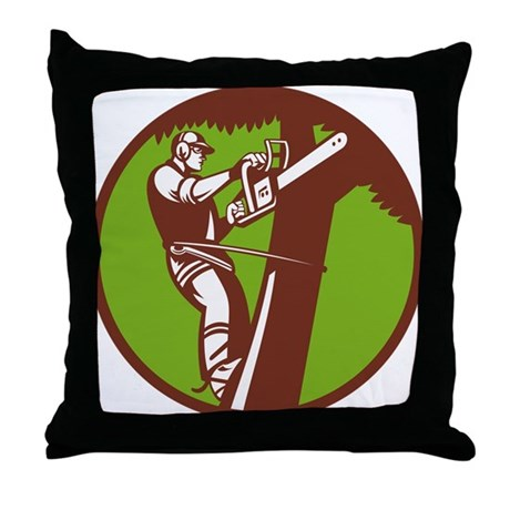 Arborist Tree Surgeon Trimmer Pruner Throw Pillow