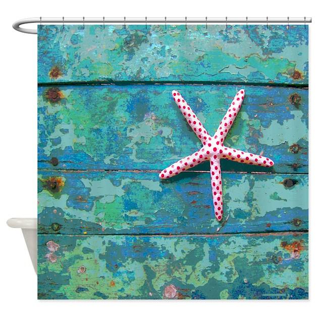 Starfish And Turquoise Shower Curtain By Rebeccakorpita