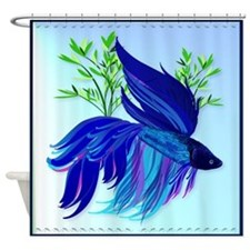 Big Blue Siamese Fighting Fish Shower Curtain