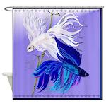 Blue and White Siamese Fighting Fish Shower Curtai
