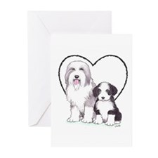 Bearded Collies Greeting Cards (Pk of 20)
