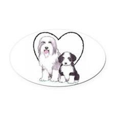 Bearded Collies Oval Car Magnet