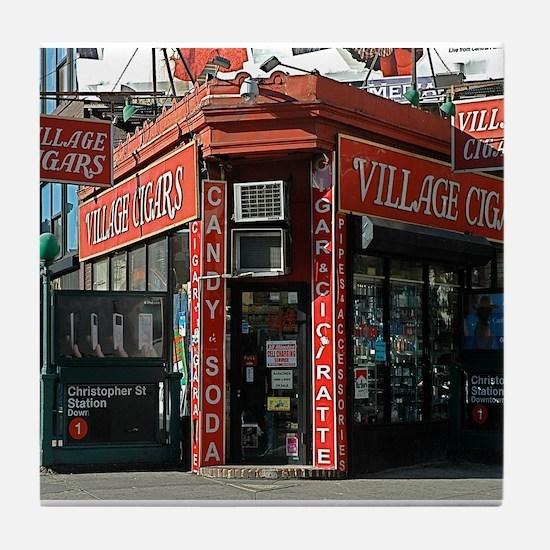 Greenwich Village: Village Cigars Tile Coaster