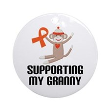 Support Granny Orange Ribbon Ornament (Round)