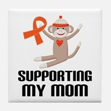 Support Mom Orange Ribbon Tile Coaster