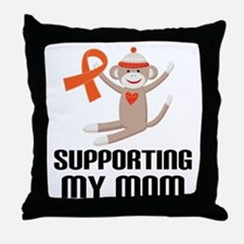 Support Mom Orange Ribbon Throw Pillow