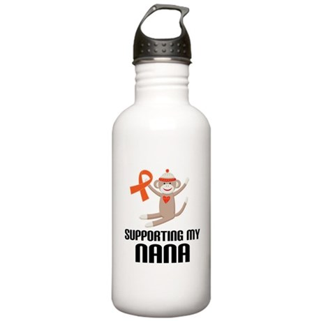 Support Nana Orange Ribbon Stainless Water Bottle