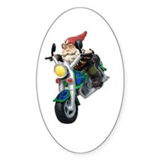 Gnomes On Hogs Oval Decal