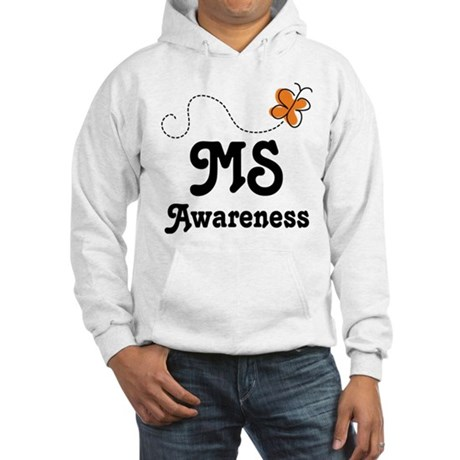 MS Awareness Orange Butterfly Hooded Sweatshirt