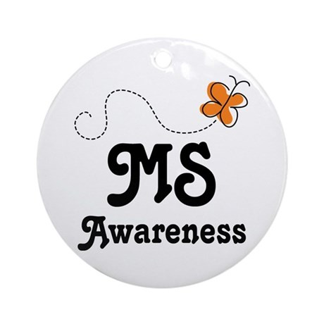 MS Awareness Orange Butterfly Ornament (Round)