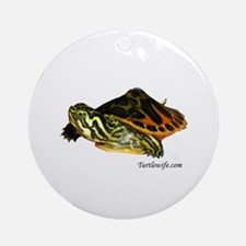 Hatchling Map Turtle Ornament (Round)