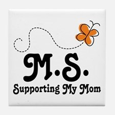 Support Mom MS Butterfly Tile Coaster