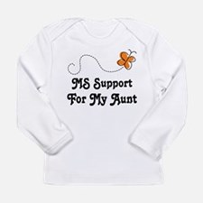 Support Aunt MS Butterfly Long Sleeve Infant T-Shi