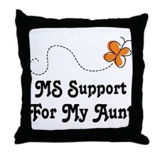 Support Aunt MS Butterfly Throw Pillow