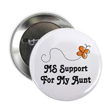 """Support Aunt MS Butterfly 2.25"""" Button"""