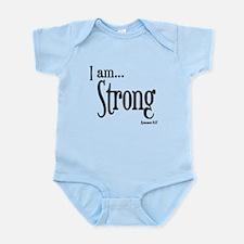 I am Strong Romans 8:37 Infant Bodysuit