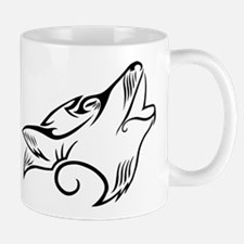 Black Howling Wolf Tribal Tattoo Mug