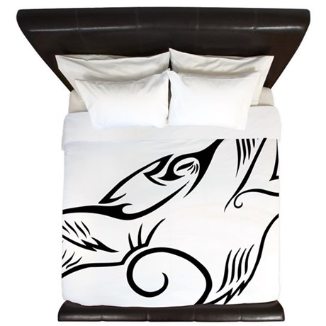 Black Howling Wolf Tribal Tattoo King Duvet