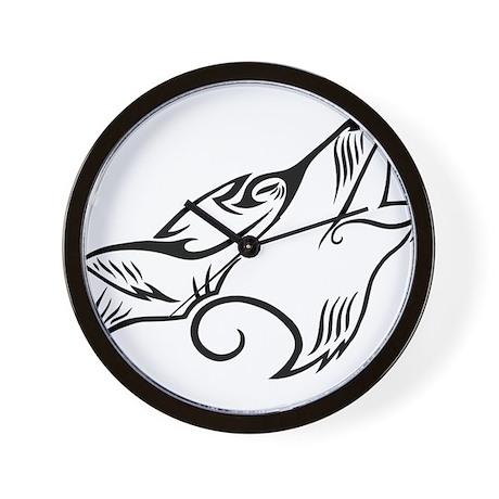 Black Howling Wolf Tribal Tattoo Wall Clock