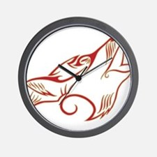 Howling Wolf Red Tan Wall Clock