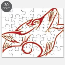 Howling Wolf Red Tan Puzzle