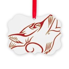 Howling Wolf Red Tan Ornament