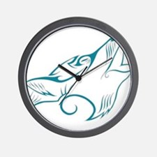 Turquoise Howling Wolf Tribal Tattoo Wall Clock