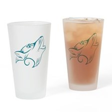 Turquoise Howling Wolf Tribal Tattoo Drinking Glas