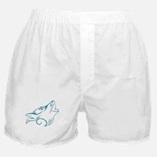 Turquoise Howling Wolf Tribal Tattoo Boxer Shorts