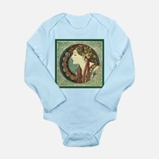 Alphonse Mucha Laurel Long Sleeve Infant Bodysuit