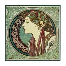 Alphonse Mucha Laurel Tile Coaster