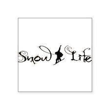 """Snow Life Boarder (Black) Square Sticker 3"""" x 3"""""""