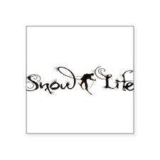 "Cursive Snowlife with skier Square Sticker 3"" x 3"""