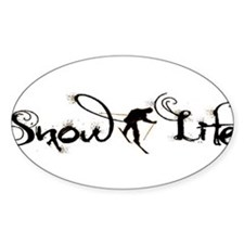 Cursive Snowlife with skier Decal