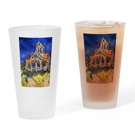 Van Gogh Church At Auvers Drinking Glass