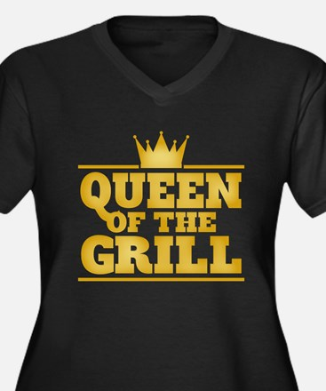 Queen of the Grill Women's Plus Size V-Neck Dark T