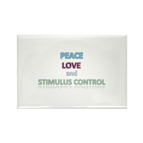 Peace, Love, Stimulus Control Rectangle Magnet