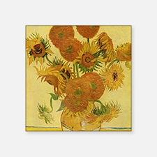 "Van Gogh Sunflowers Square Sticker 3"" x 3"""