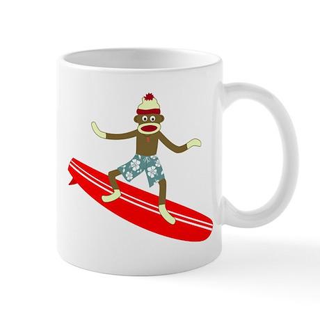 Sock Monkey Longboard Surfer Coffee Mug