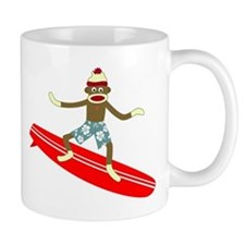 Sock Monkey Longboard Surfer Coffee Small Mug