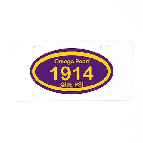 Omega Pearl Oval Aluminum License Plate
