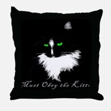 Obey the Kitty Throw Pillow