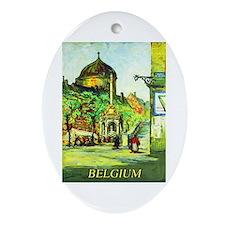 Belgium Travel Poster 1 Ornament (Oval)