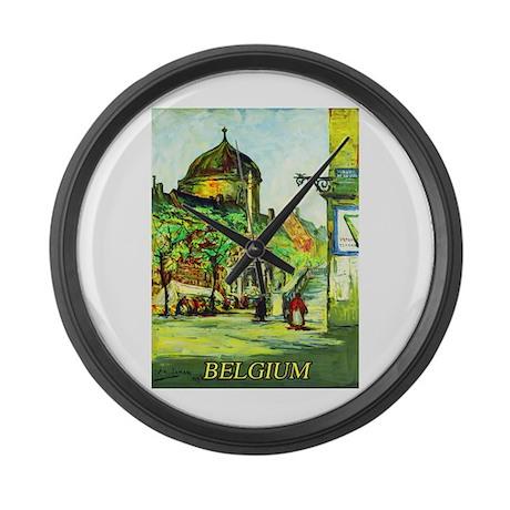 Belgium Travel Poster 1 Large Wall Clock