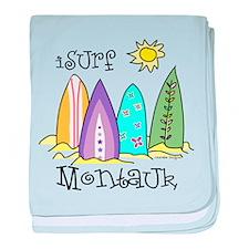 I Surf Montauk baby blanket