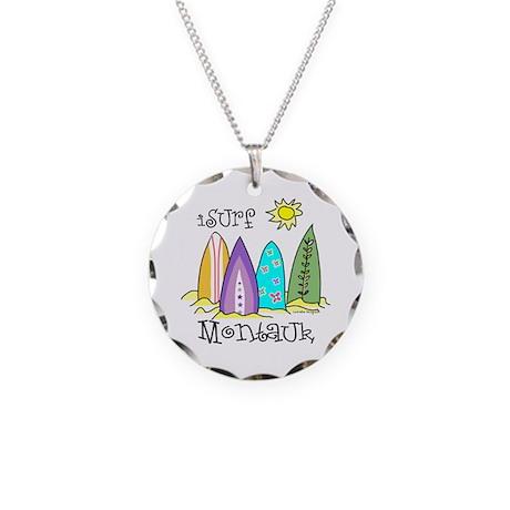 I Surf Montauk Necklace Circle Charm