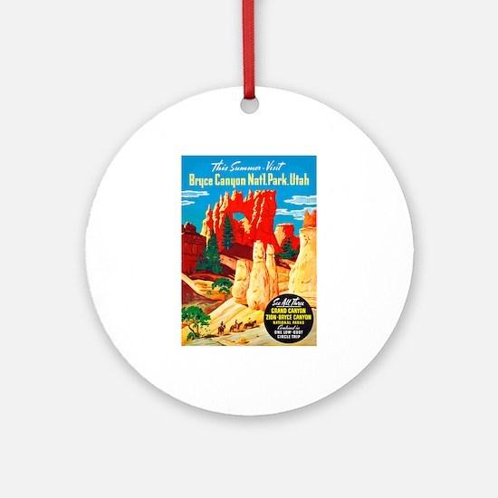 Utah Travel Poster 2 Ornament (Round)