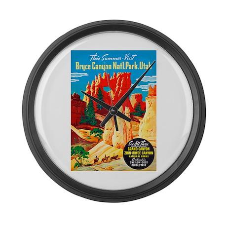 Utah Travel Poster 2 Large Wall Clock