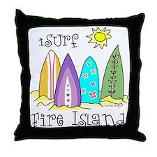 I Surf Fire Island Throw Pillow