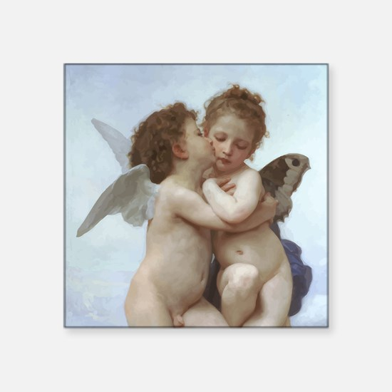 "Bouguereau L'Amour et Psyché Square Sticker 3"" x 3"